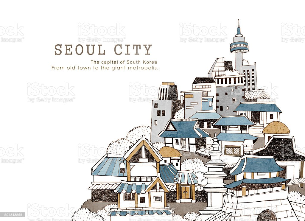 Seoul city and Korean architecture vector art illustration
