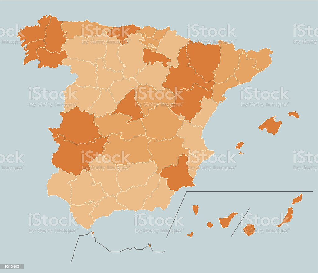 Separated Provinces of Spain royalty-free stock vector art
