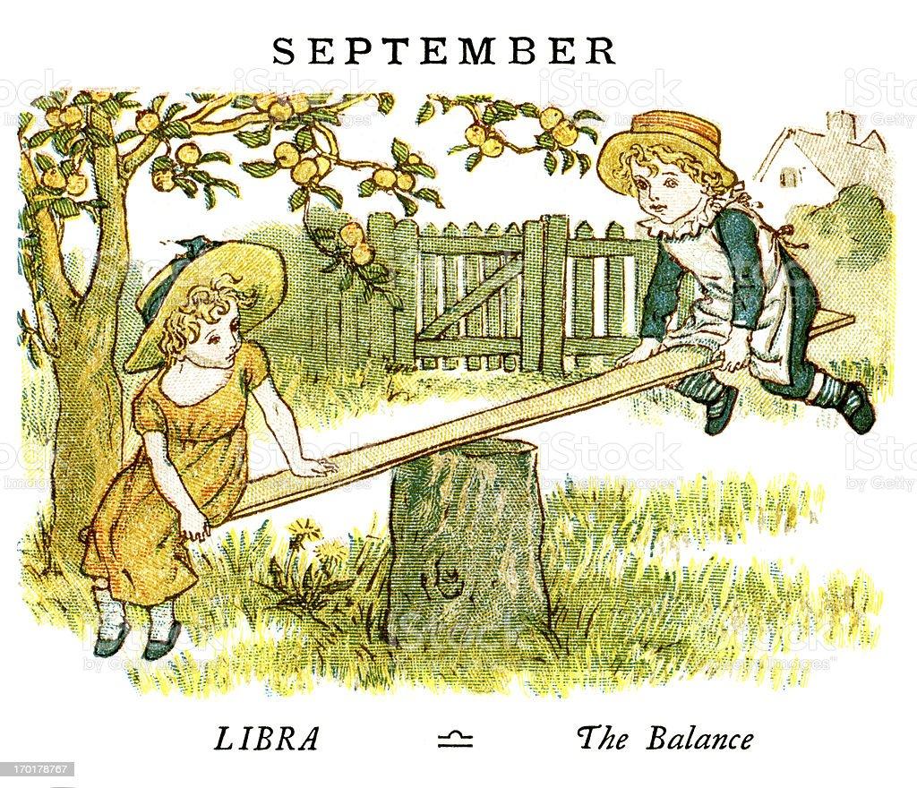 September - Kate Greenaway, 1884 vector art illustration