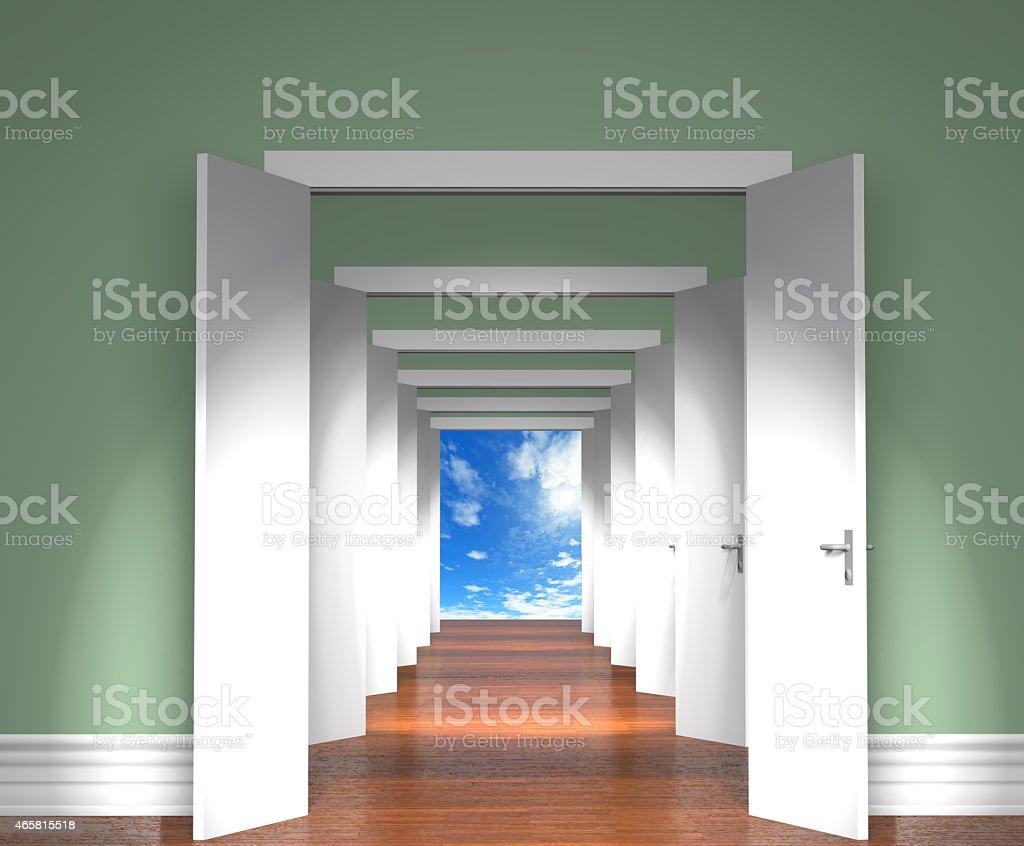 Sequence of the open doors to heaven. vector art illustration