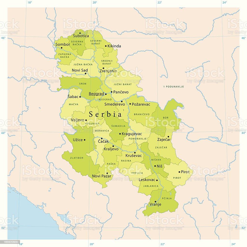 Serbia Vector Map vector art illustration