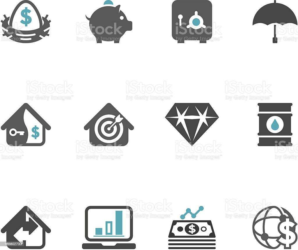 Series of finance and investment vector icons vector art illustration