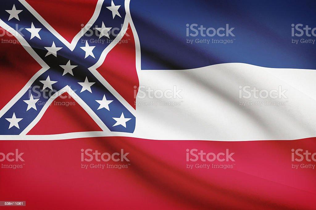 Series of ruffled flags - Mississippi. vector art illustration