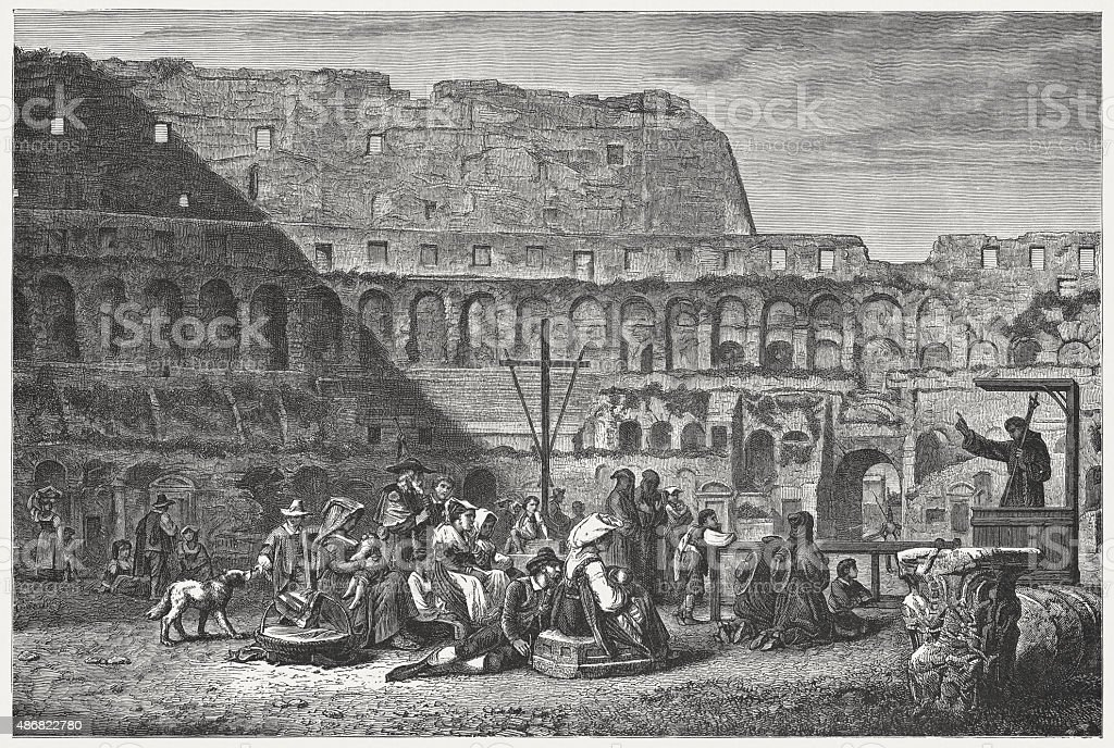 Sermon in the Colosseum, published in 1878 vector art illustration