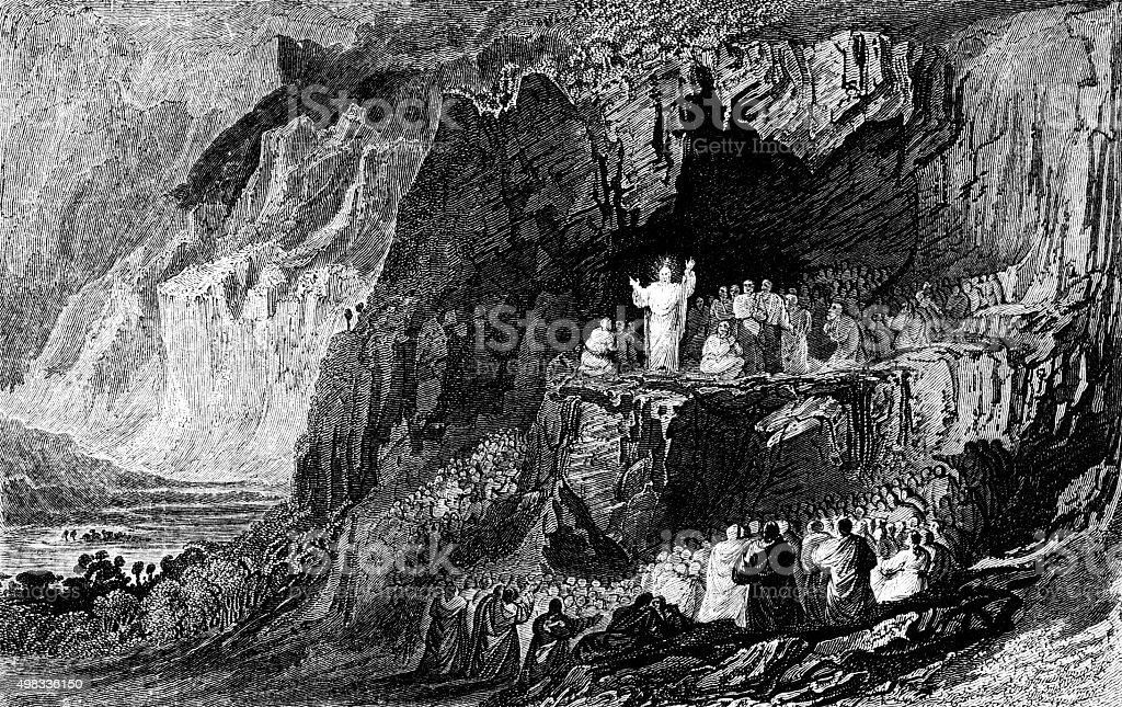 Sermon on the Mount vector art illustration