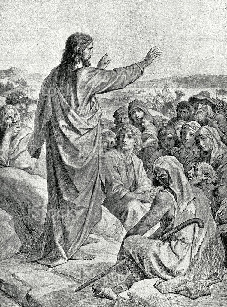 Sermon On The Mount vector art illustration