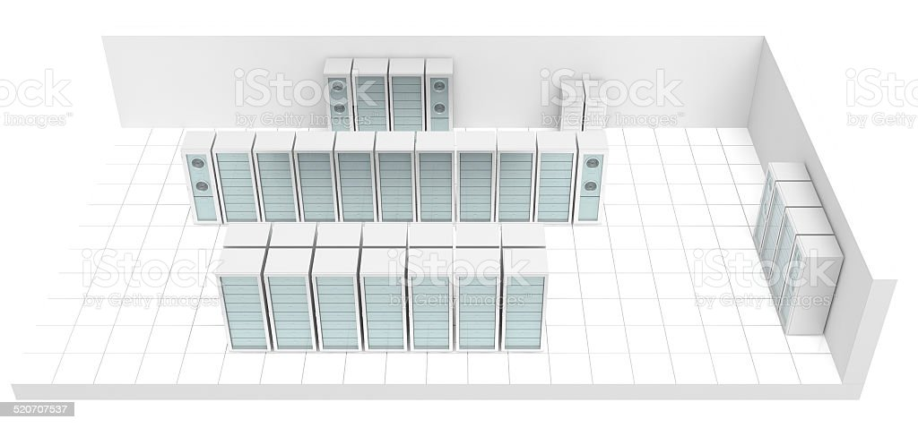 Server Room 3d top view (isolated on white) vector art illustration