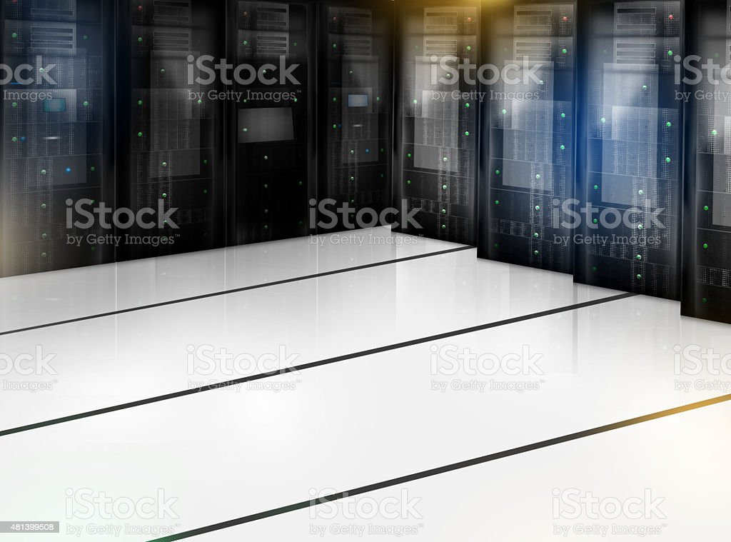 Server Room Datacenter Computer vector art illustration