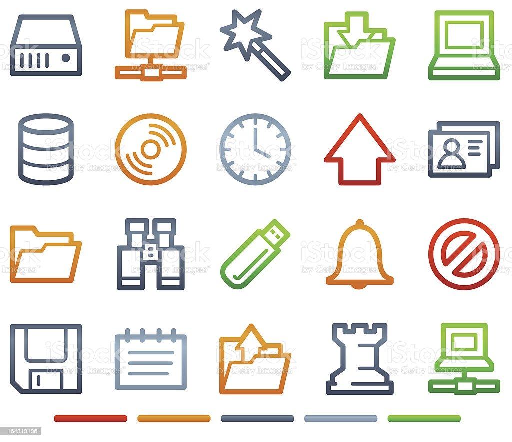 Server web icons, colour symbols series royalty-free stock vector art