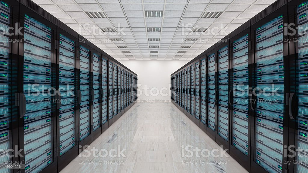 Servers in server room vector art illustration