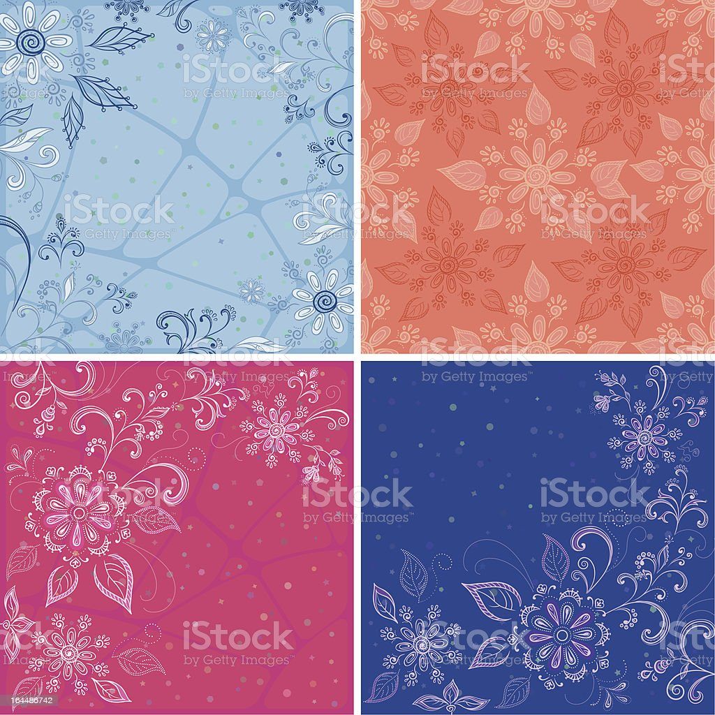 Set abstract floral backgrounds royalty-free stock vector art