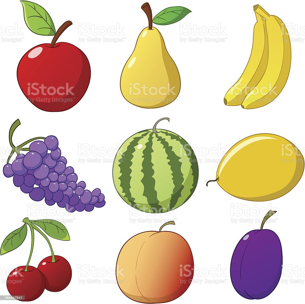 Set cartoon fruits isolated on white background royalty-free stock vector art