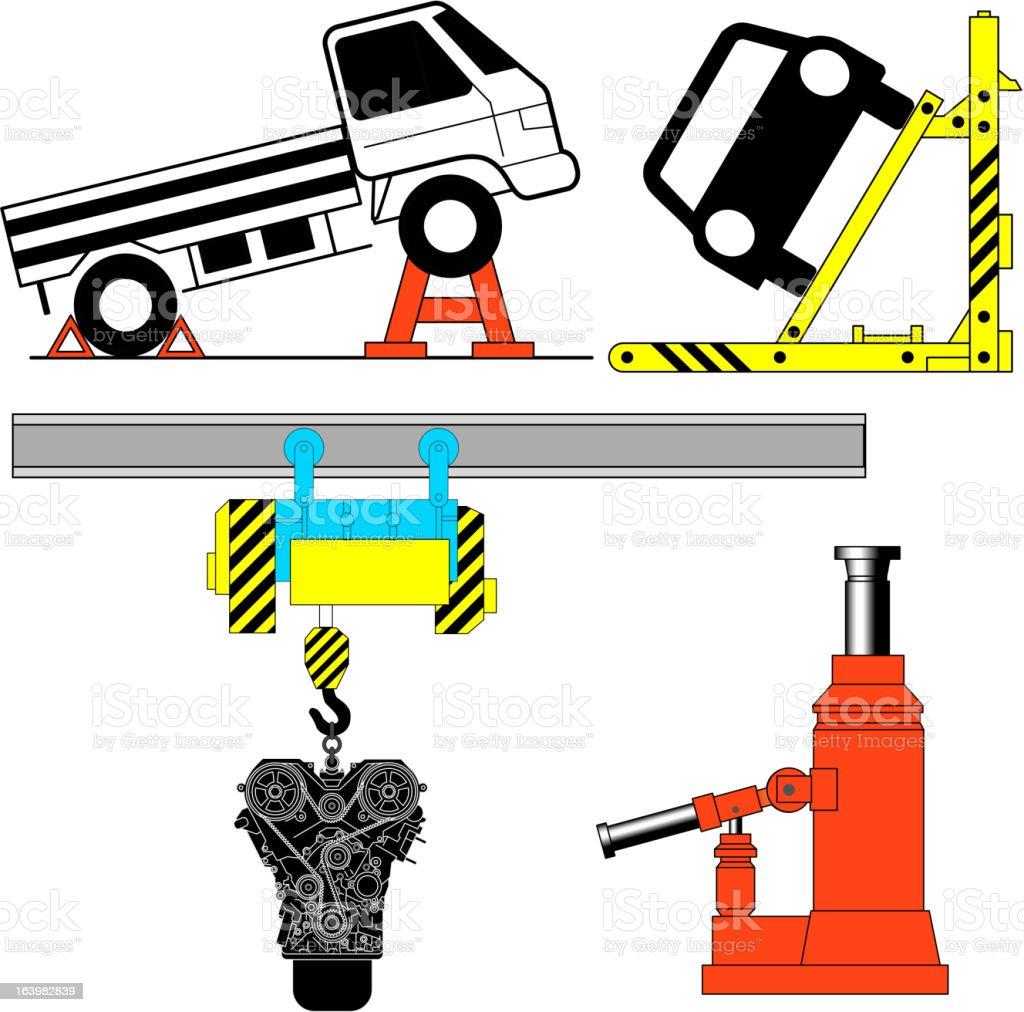 Set device for lifting a car repair. royalty-free stock vector art