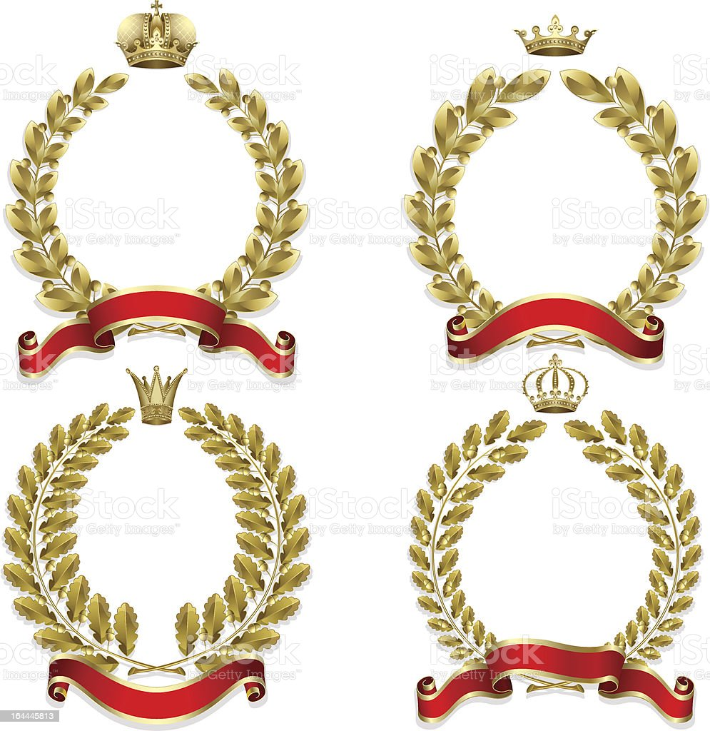 Set from  gold laurel and oak wreath royalty-free stock vector art