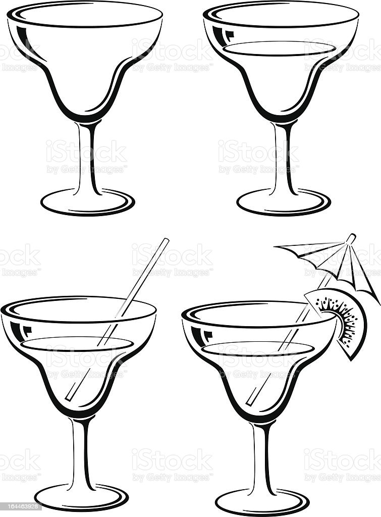 Set glasses, black pictograms royalty-free stock vector art