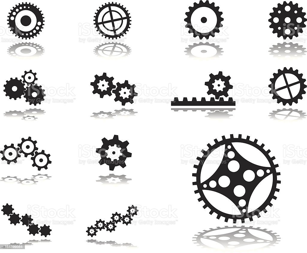 Set icons. Gears. vector art illustration
