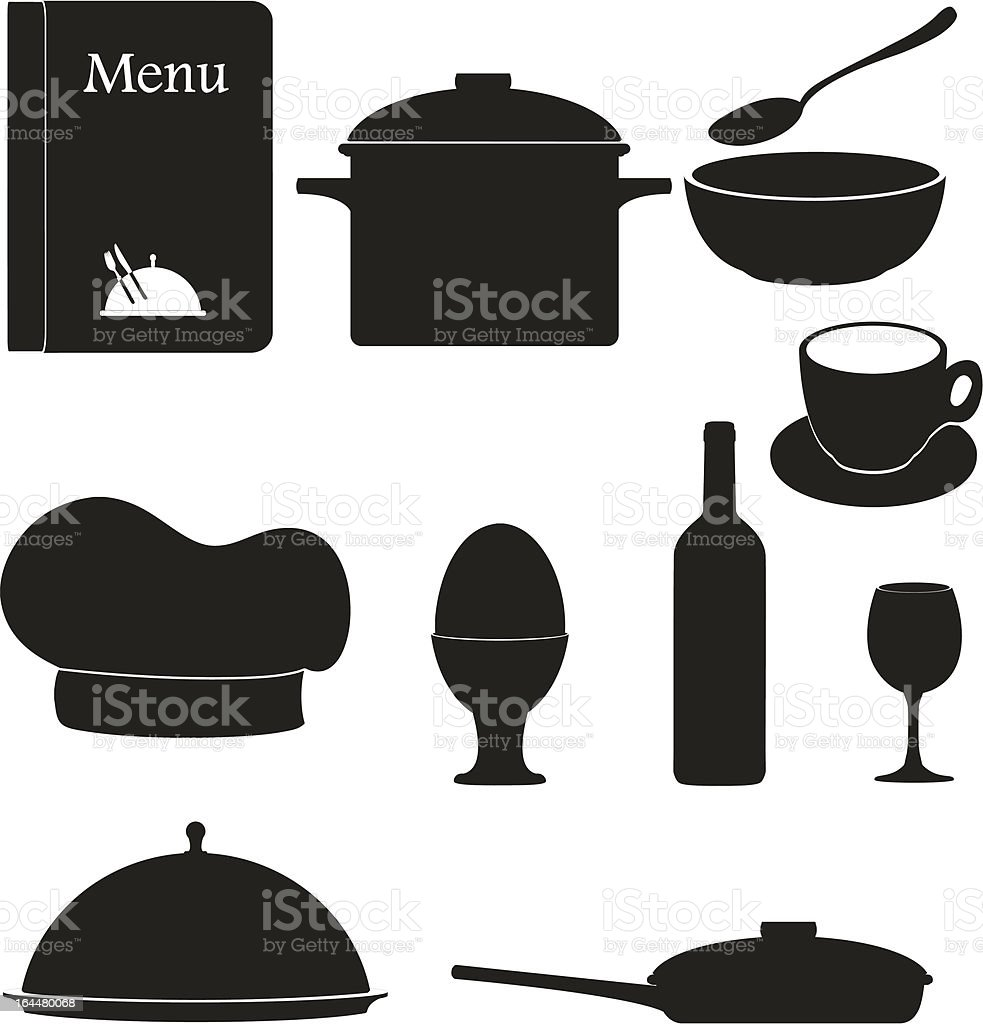 set kitchen icons for restaurant cooking black silhouette vector illustration royalty-free stock vector art