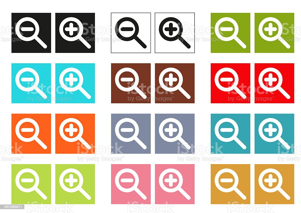 Set of 12 colorful icons for zoom in and out vector art illustration
