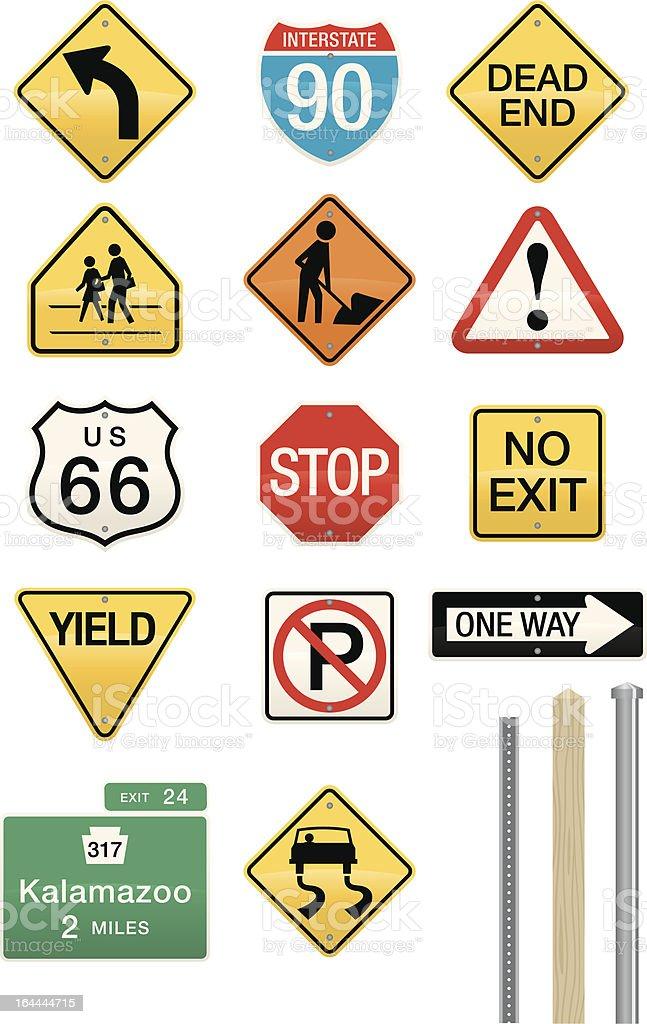 Set of 14 Highway Sign Vectors royalty-free stock vector art