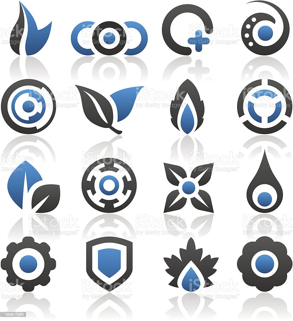 Set of 16 design elements and various graphics royalty-free stock vector art