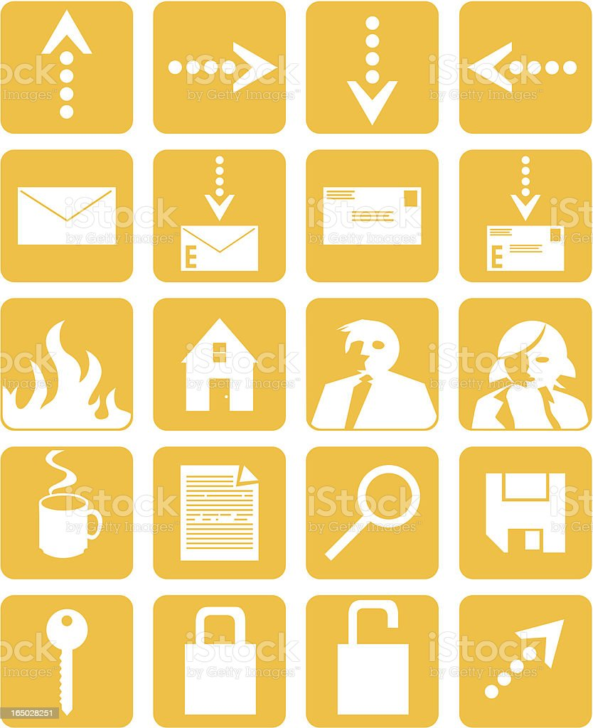 set of 20 icons vector art illustration