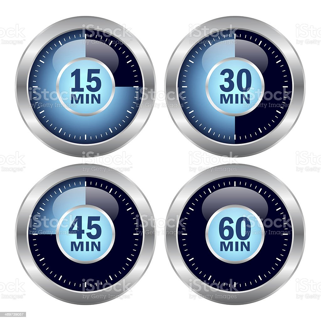 Set of 3D timer with different time display vector art illustration