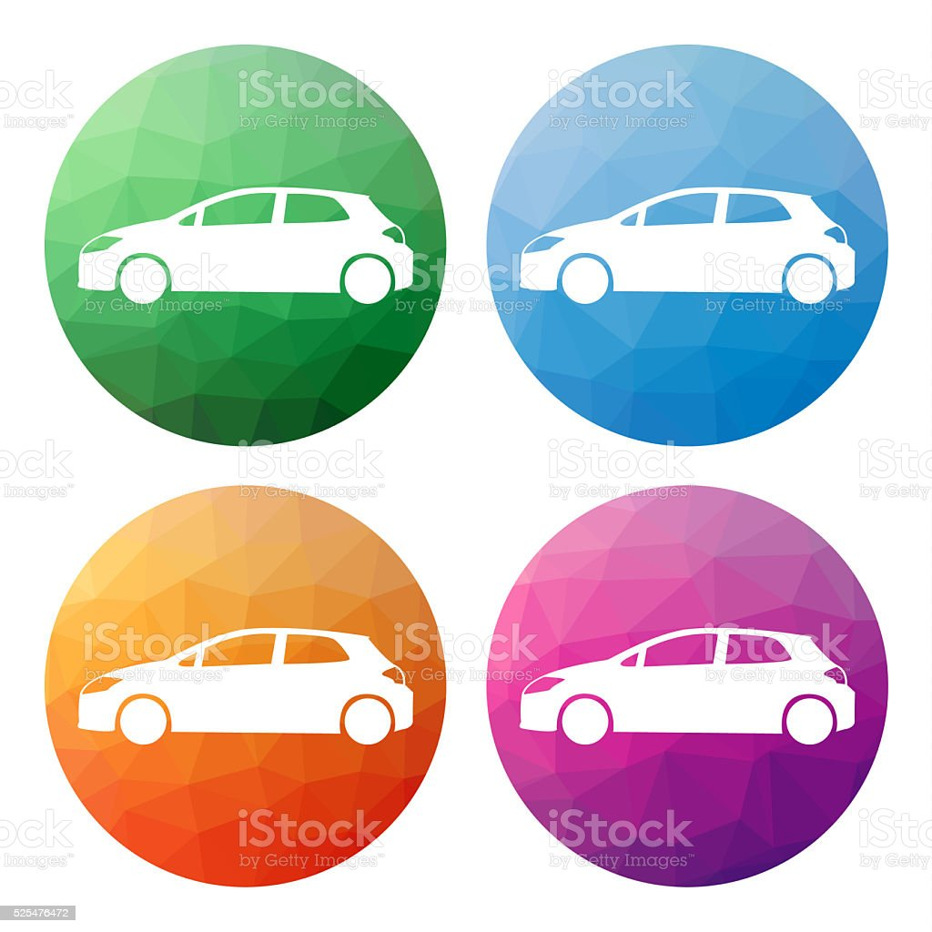 Set of 4 low polygonal buttons for hatchback car (transport) stock photo