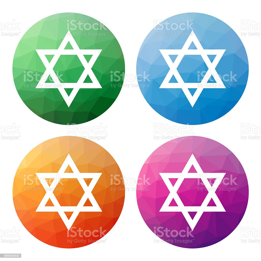 Set of 4 modern polygonal icons for Star of David vector art illustration