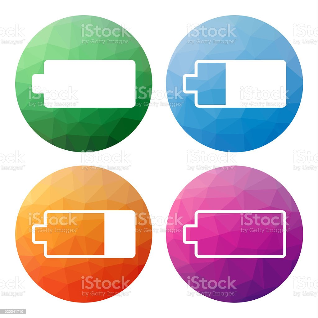 Set of 4low polygonal icons for battery charge status stock photo