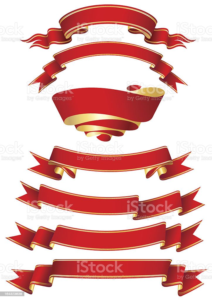 set of 7 red banners royalty-free stock vector art