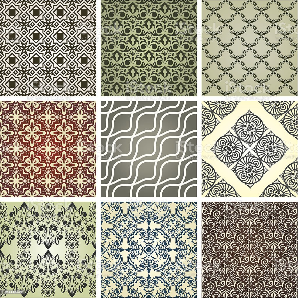 set of 9 seamless patterns royalty-free stock vector art