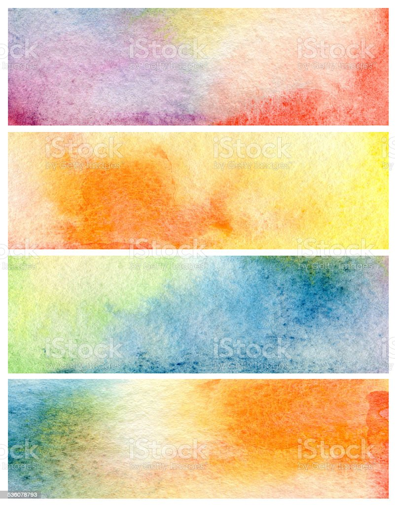Set of abstract acrylic and watercolor painted background. vector art illustration