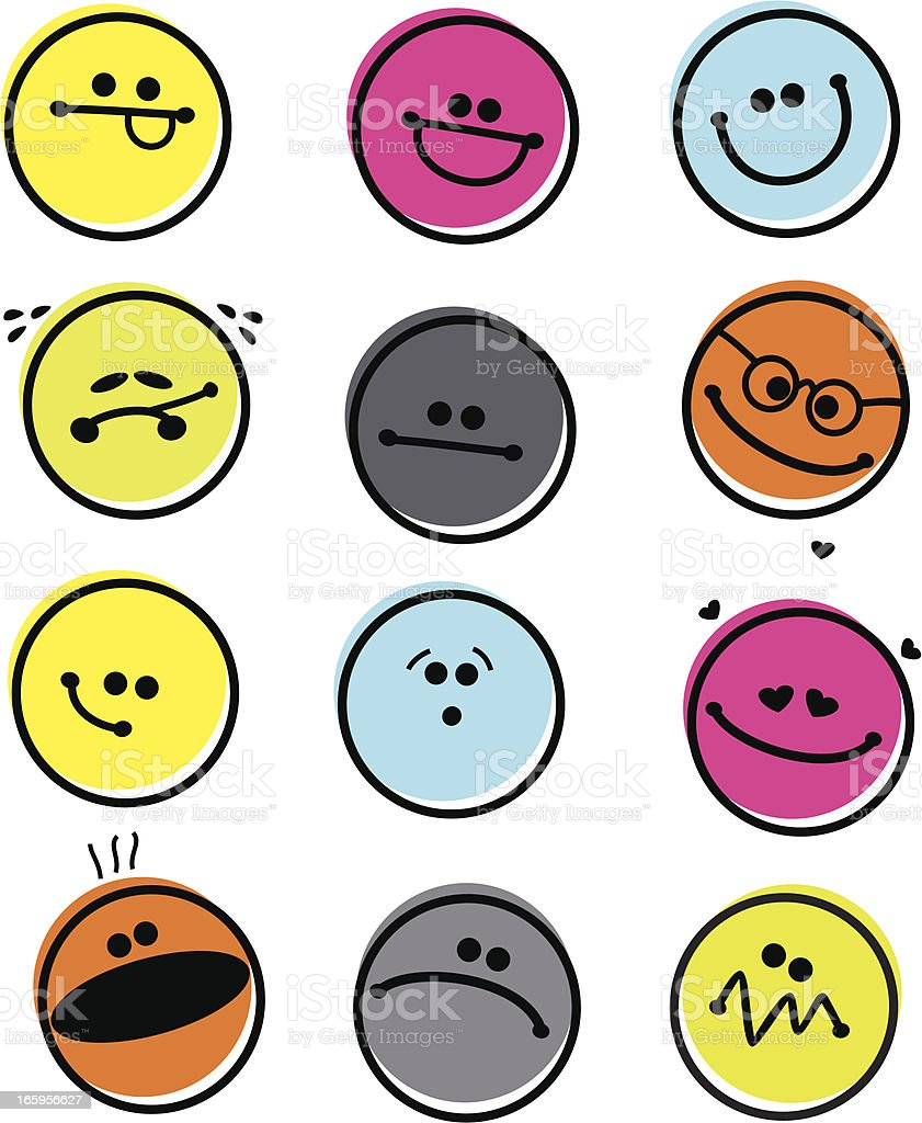 Set of Abstract Emoticons vector art illustration