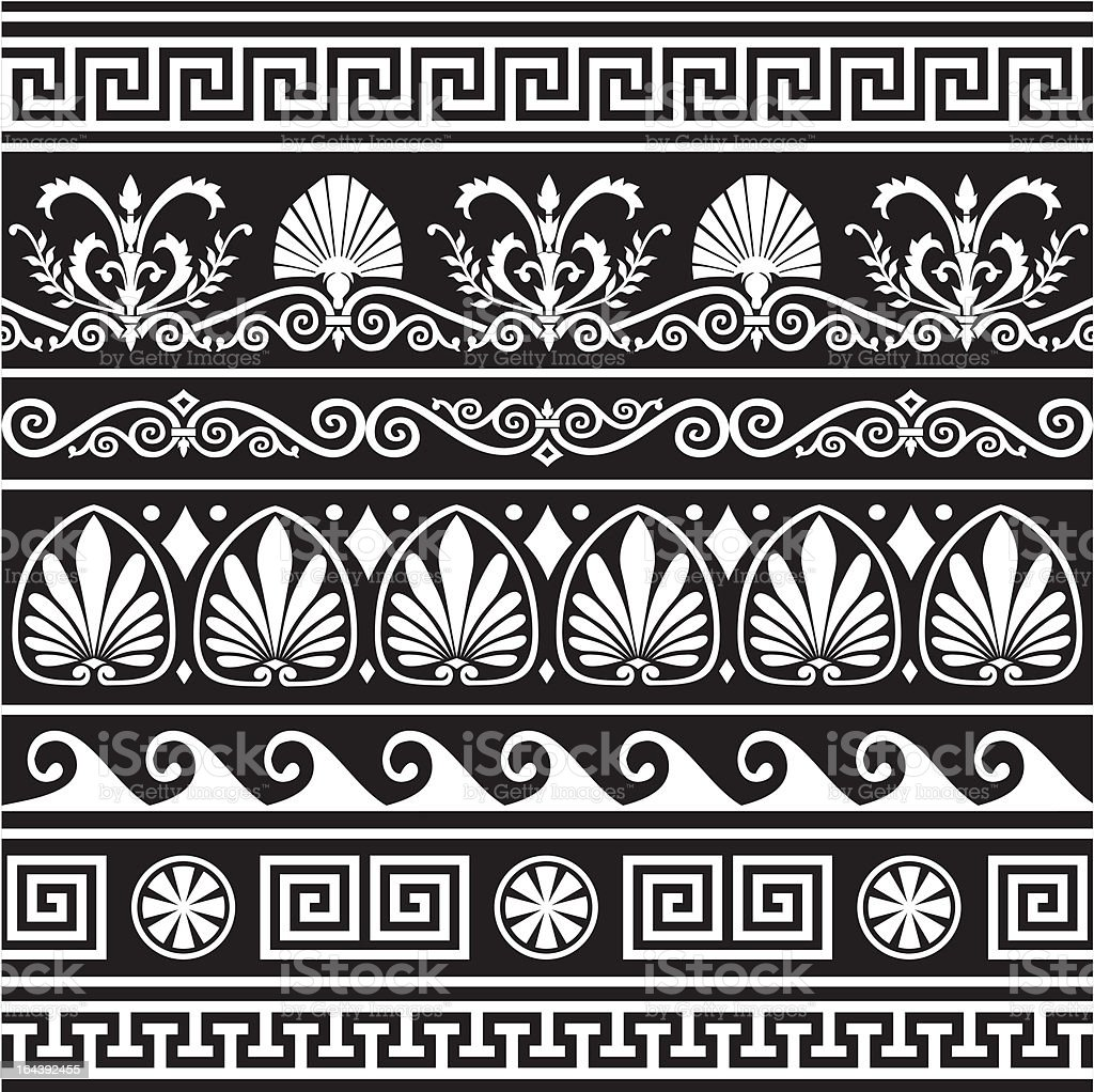 Set of antique greek borders on black vector art illustration