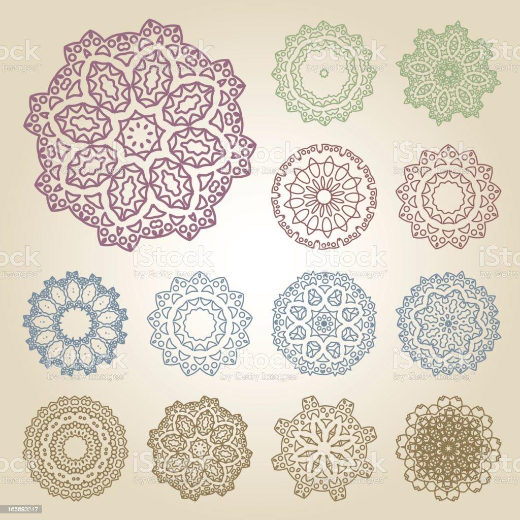 Set of arabic patterns vector art illustration