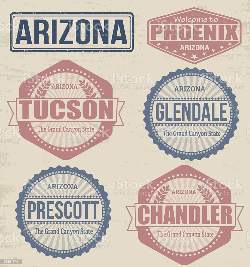 Set of Arizona cities stamps vector art illustration