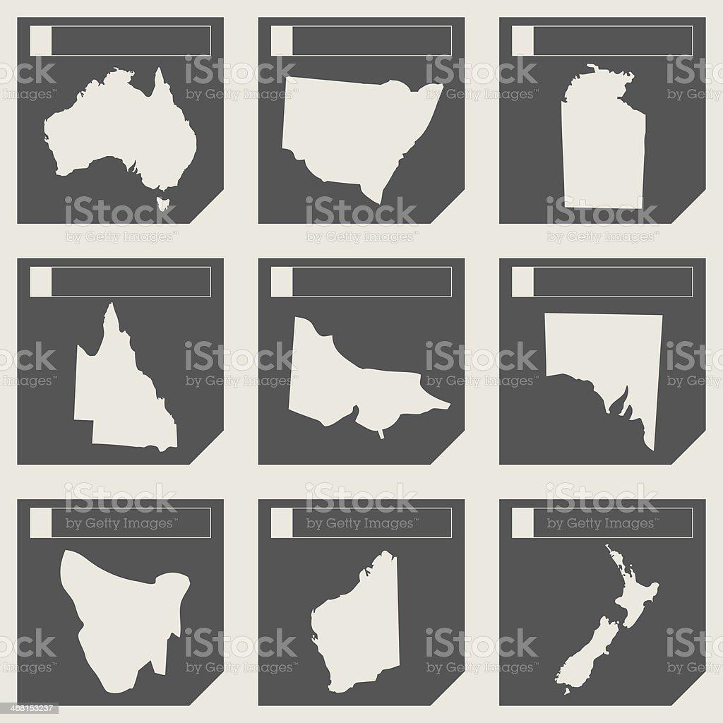 Set of Australia map buttons vector art illustration