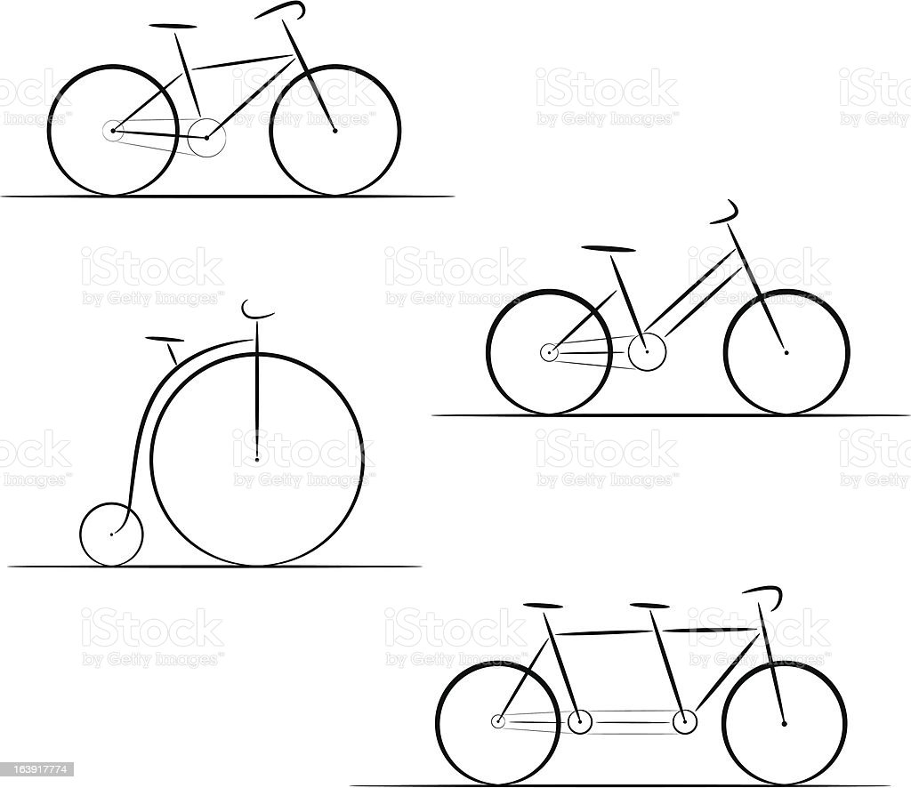 Set of bicycle silhouette vector art illustration