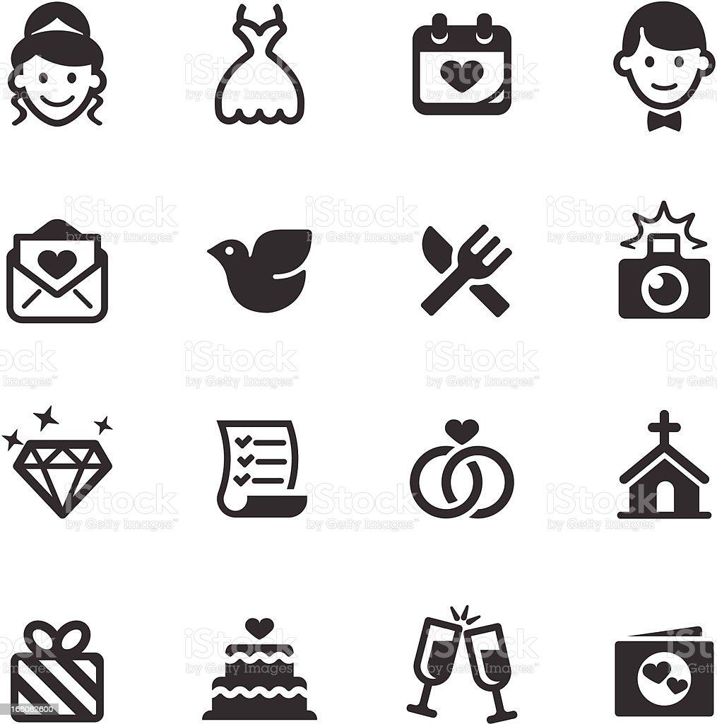 Set of black and white wedding icons vector art illustration