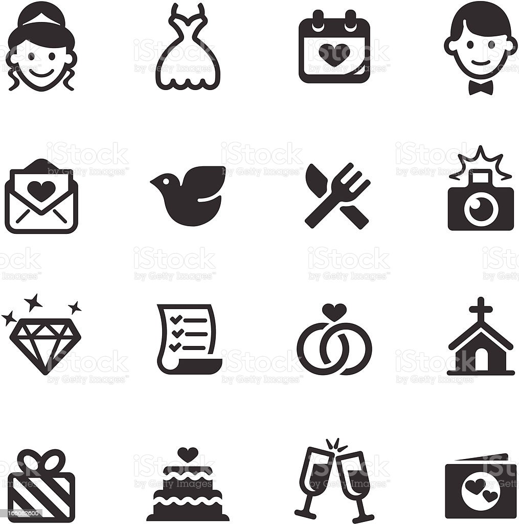 Set of black and white wedding icons vector art illustration
