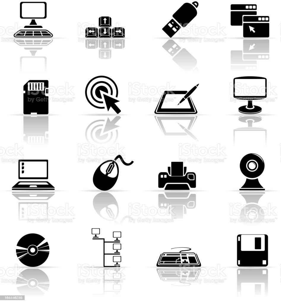Set of black computer icons royalty-free stock vector art