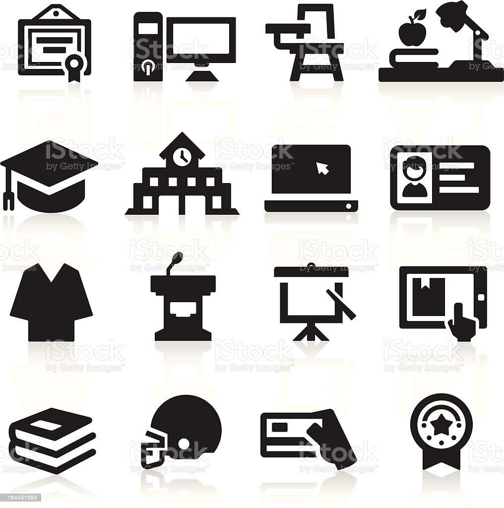 Set of black education and college icons royalty-free stock vector art