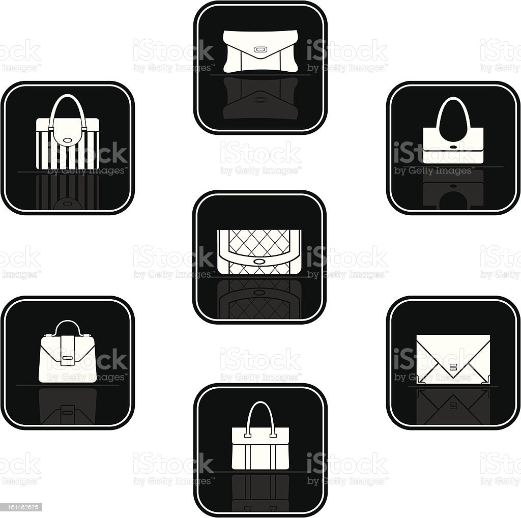 Set of black icons with bags vector art illustration
