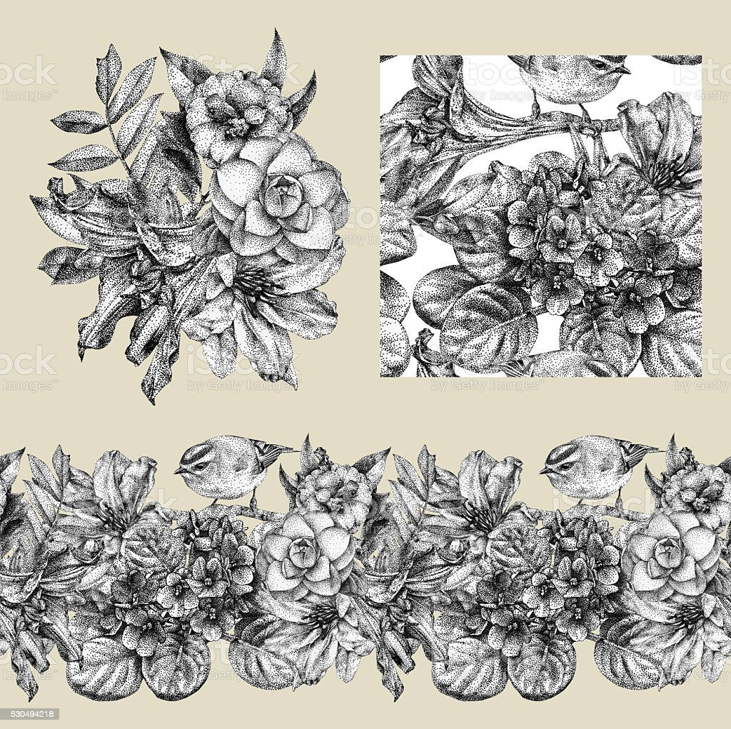 Set of border, pattern, and illustration with different flowers vector art illustration