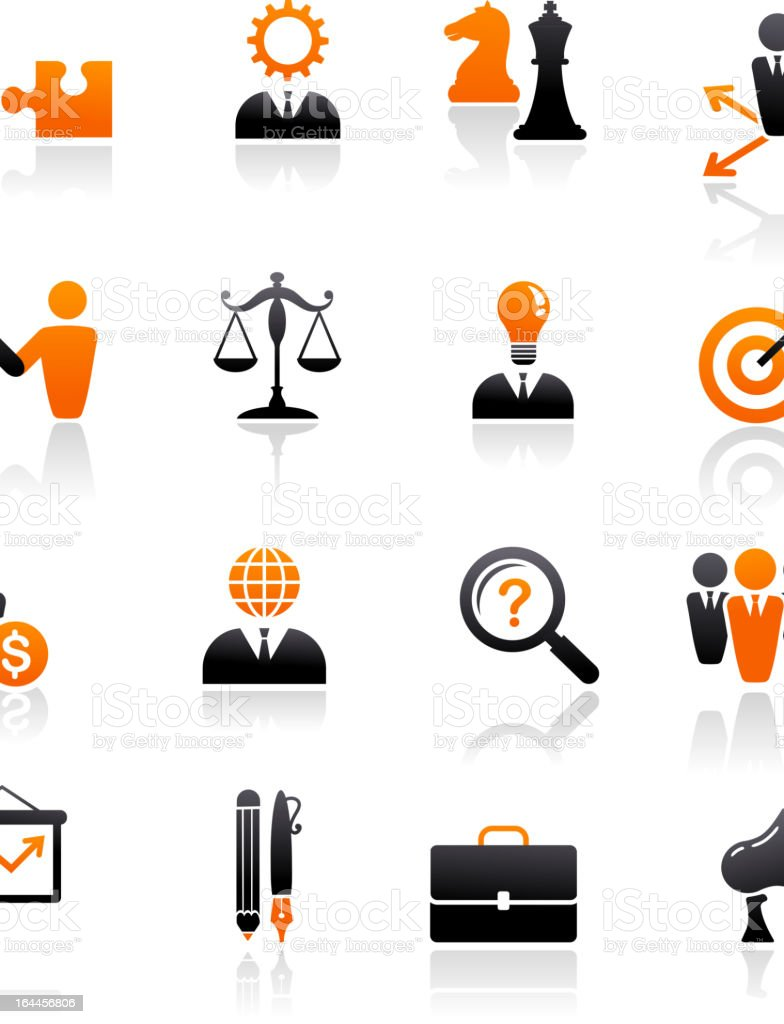 set of business and strategy icons vector art illustration