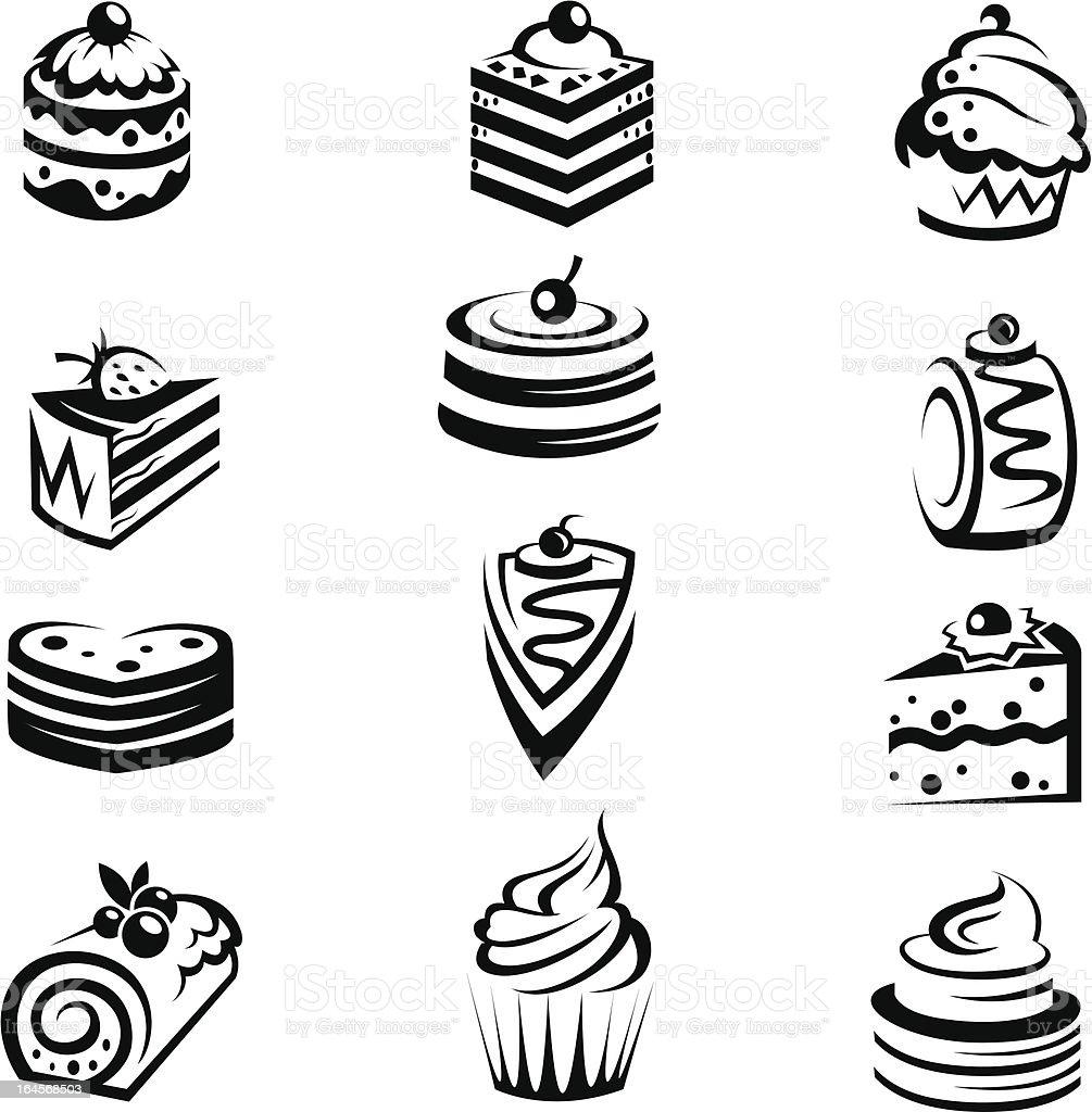 set of cakes vector art illustration