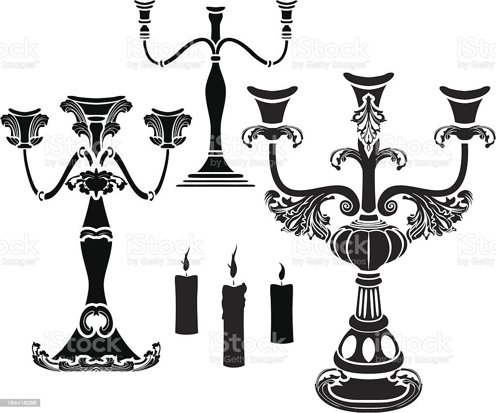Set of candelabrum royalty-free stock vector art