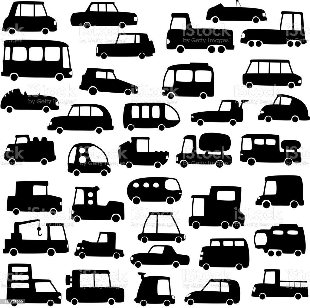 set of cartoon cars silhouettes royalty-free stock vector art