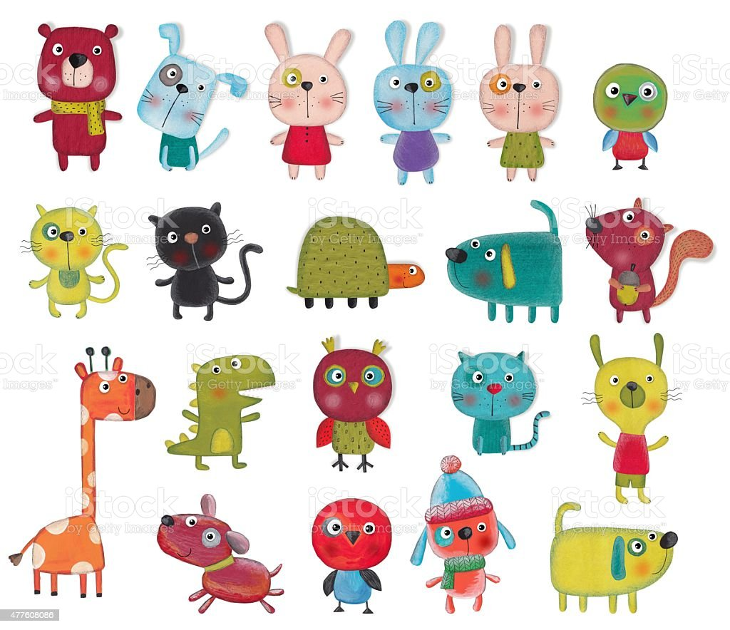 Set of cartoon characters over white background vector art illustration