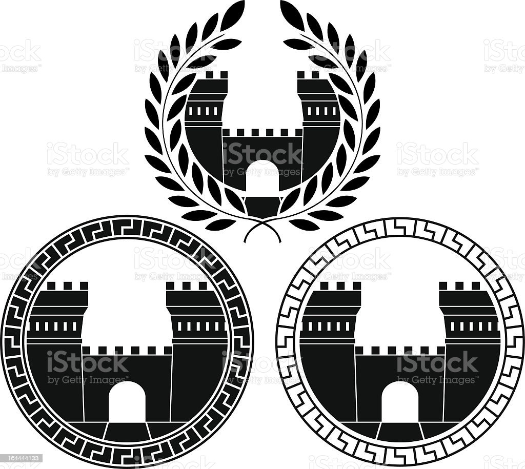 set of castle gates royalty-free stock vector art